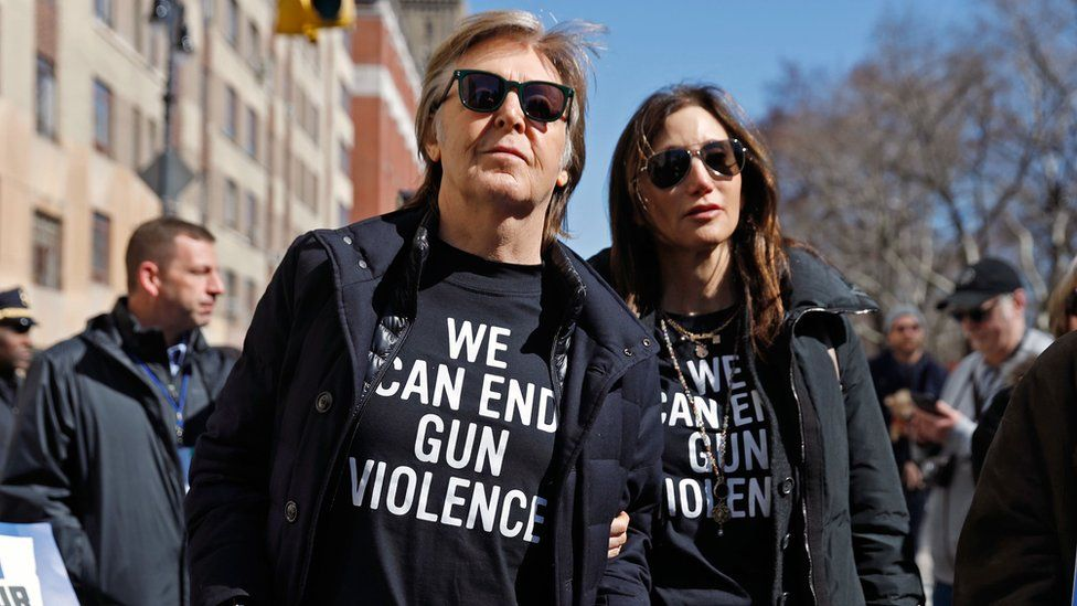 Former Beatle Sir Paul McCartney joins the March For Our Lives rally in New York City, 24 March 2018