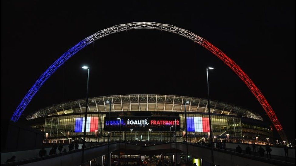 Wembley arch lit in French colours in 2015