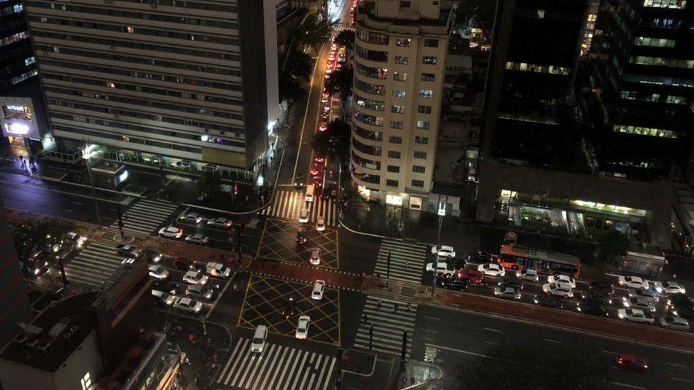 Sao Paulo goes dark due to smoke.