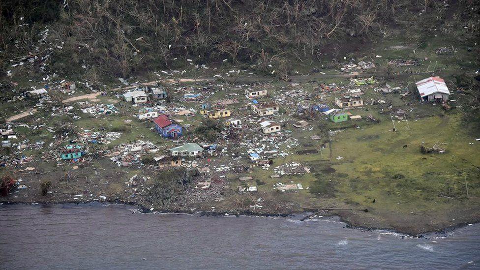 An aerial photo showing destroyed Mudu village on Koro Island