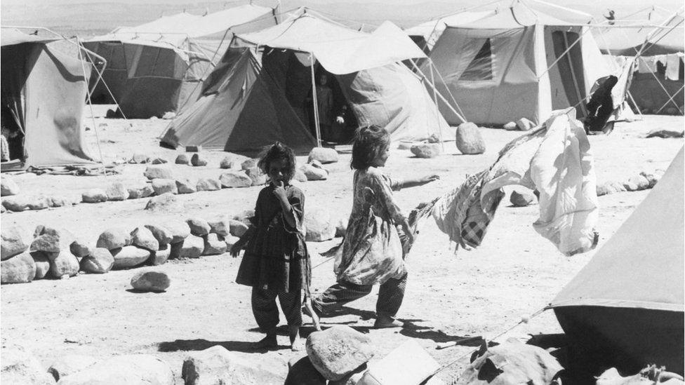 Palestinian refugee camp in Jordan, 1967