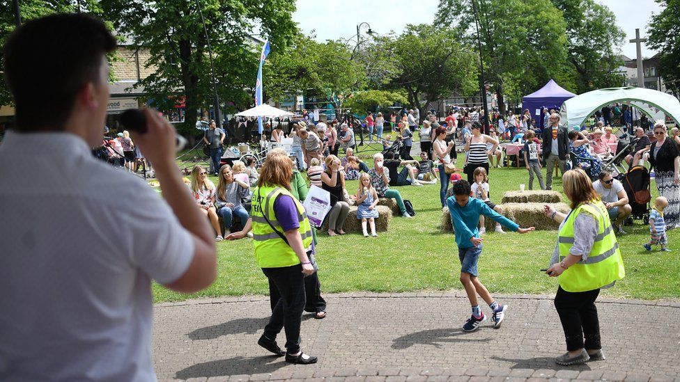 People attend a Great Get Together event in memory of murdered MP Jo Cox on June 17, 2017 in Heckmondwike, England.