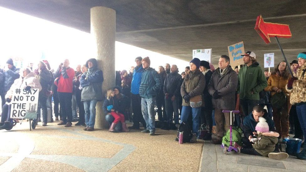 Protesters gathered by Bournemouth beach
