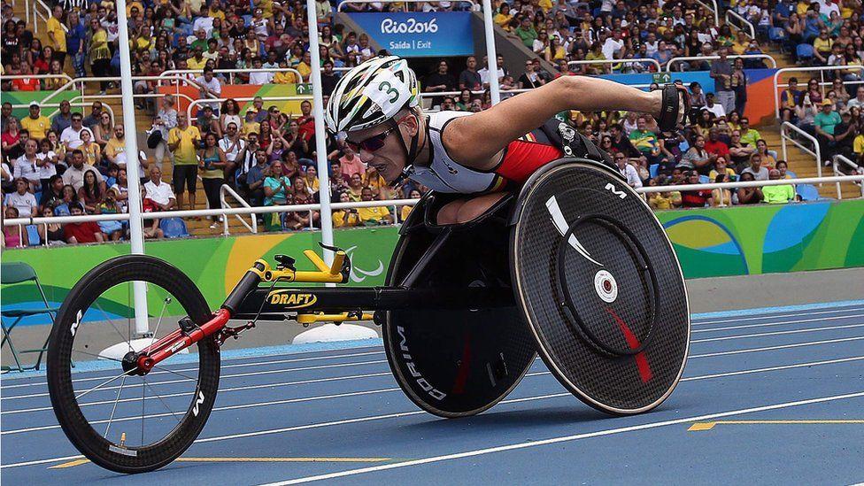 "Belgium Marieke Vervoort participates in the women""s 400 m, during the Rio 2016 Paralympics Games in Rio de Janeiro, Brazil, 10 September 2016."