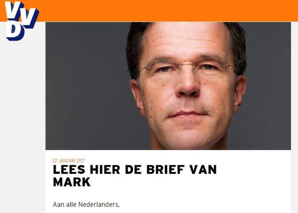 Mr Rutte's statement on the VVD website