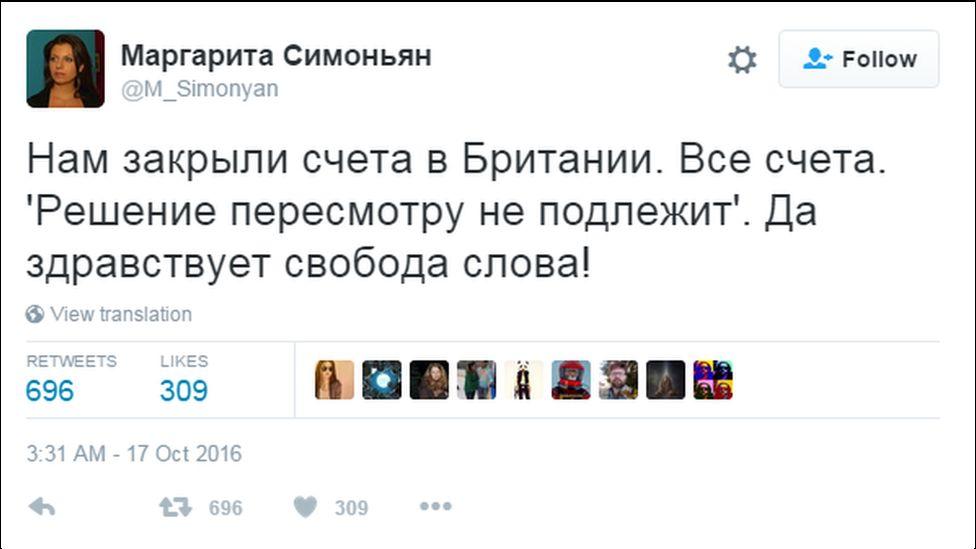 A tweet from RT editor in chief Margarita Simonyan