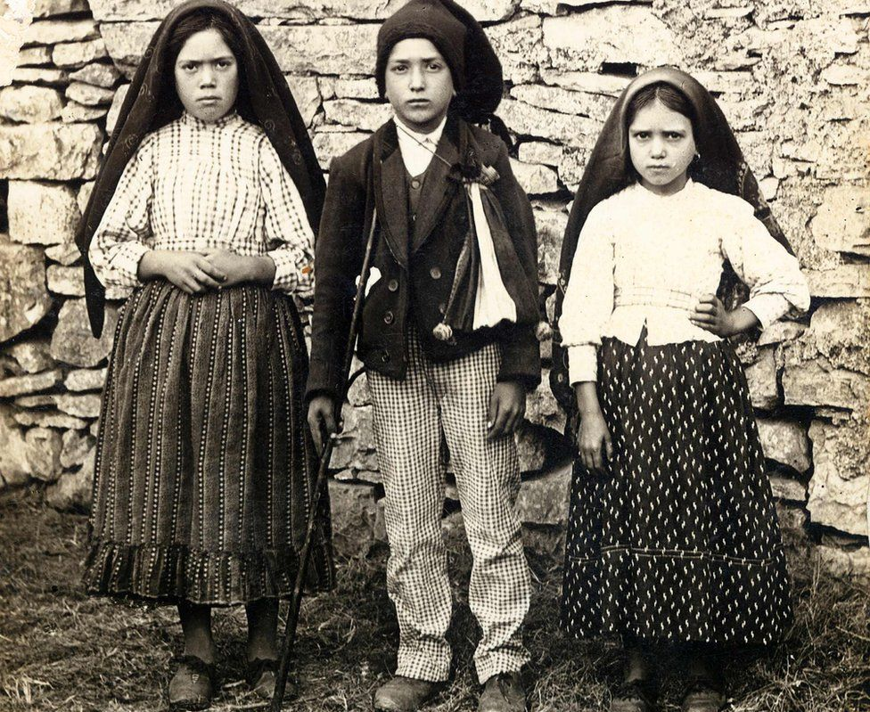 Lucia, Francisco and Jacinta Marto (L-R), who had vision of Virgin Mary in 1917