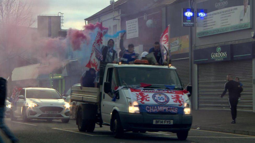 Rangers fans in Belfast celebrating title win