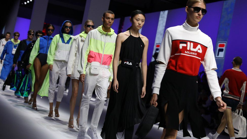Models walking the runway at the Fila show during Milan Fashion Week Spring/Summer 2019