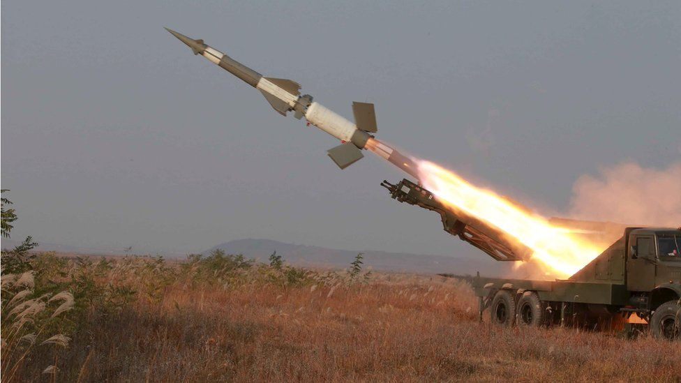 A rocket is fired during a drill by anti-aircraft units of the Korean People's Army
