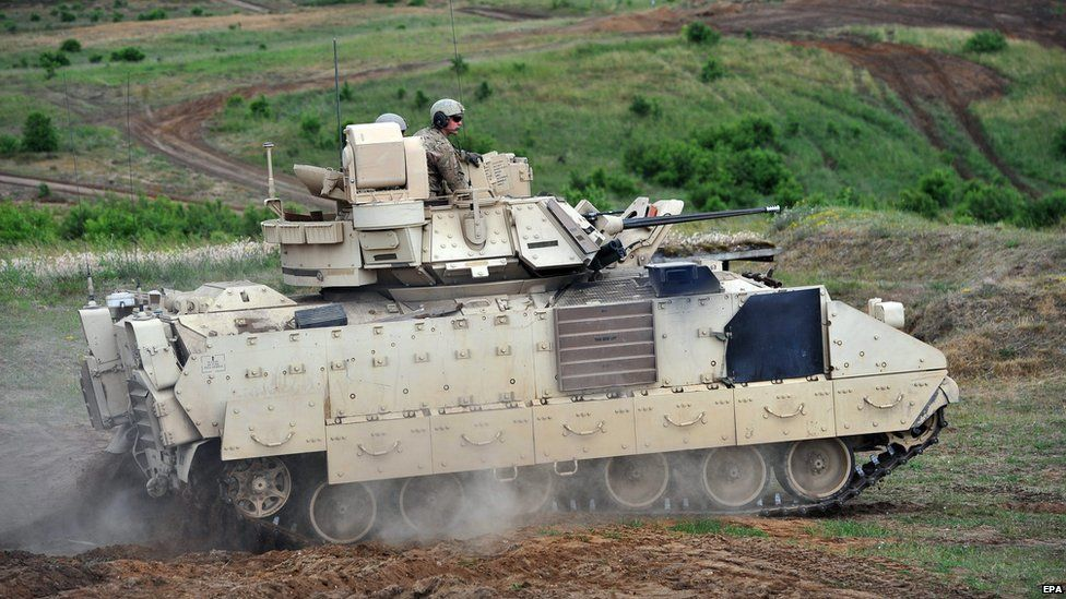 Bradley fighting vehicle on exercise in Poland