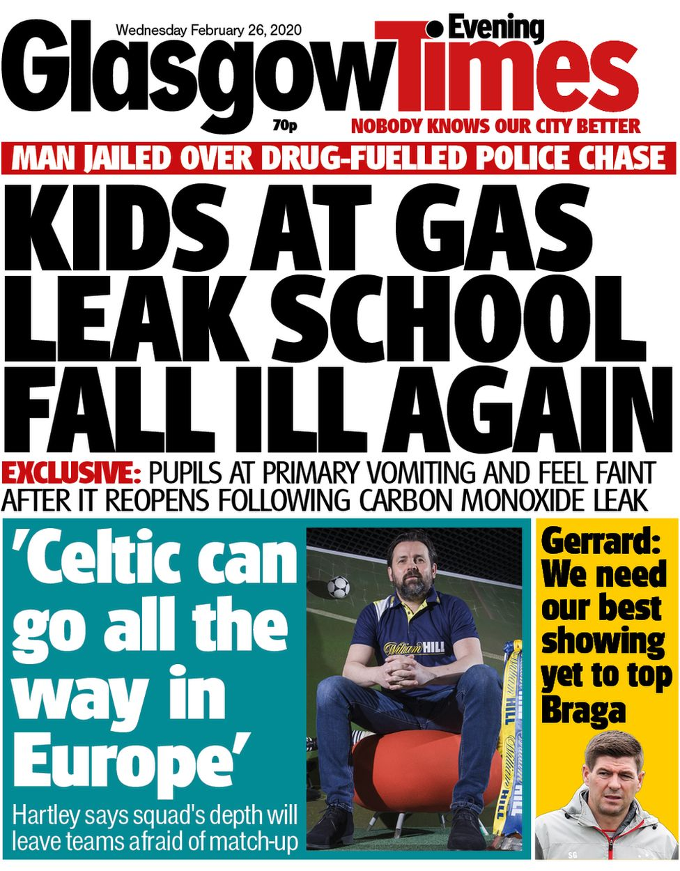 Glasgow evening times front page