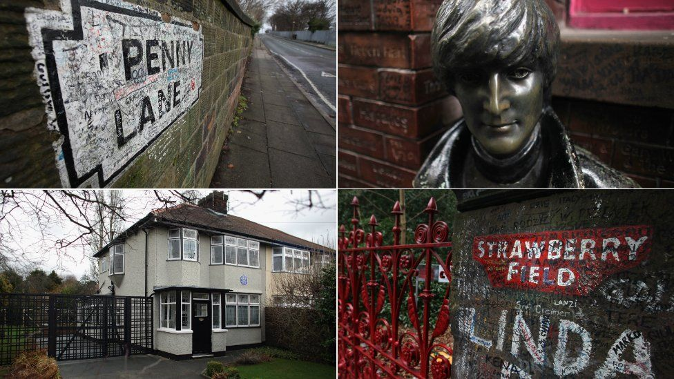 Penny Lane sign, John Lennon statue, National Trust house and Strawberry Field