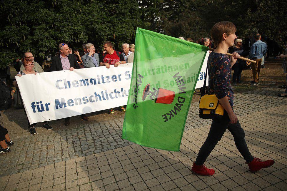 An anti-Nazi demonstrator in Chemnitz, 27 August