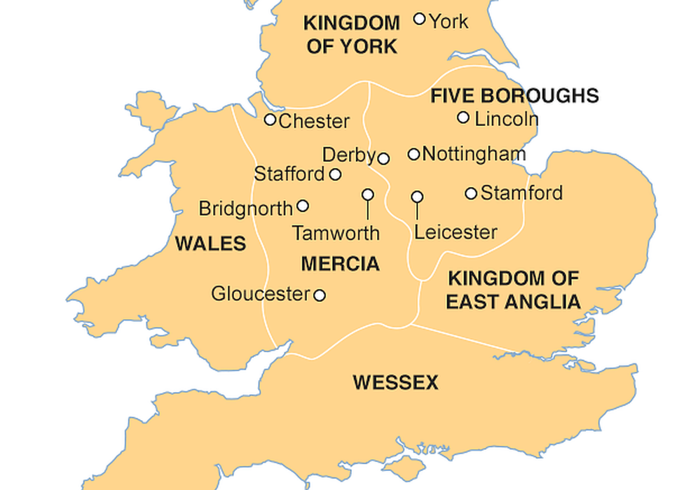 Map of England and Wales in 900 AD