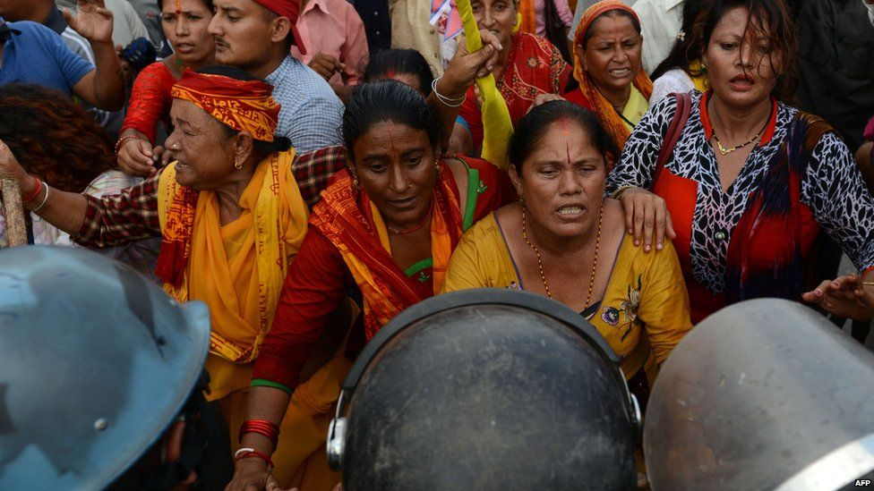 Hindu activists demonstrate against the new Nepalese constitution in Kathmandu