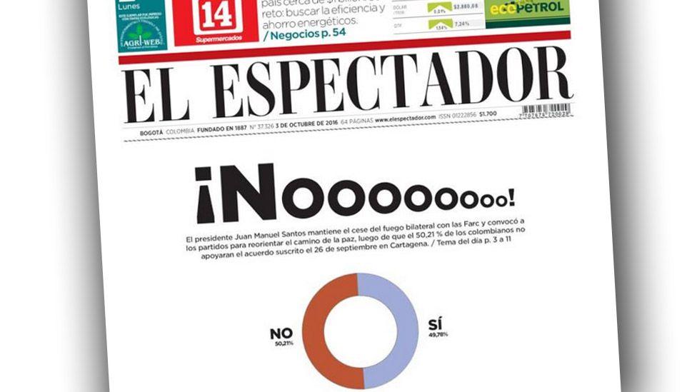 El Espectador's front page