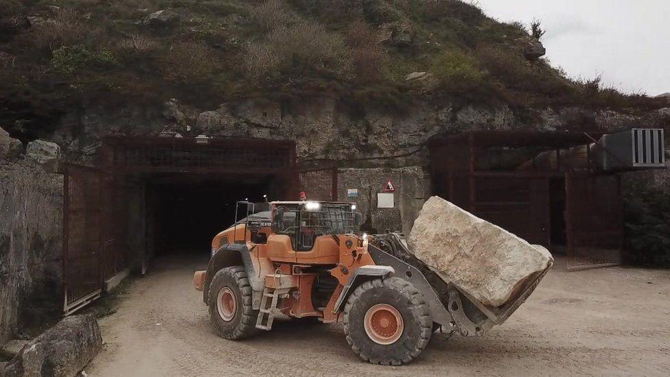 Digger at Portland stone Dorset