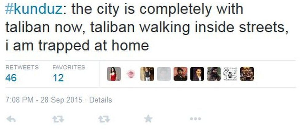 Tweet by Kunduz resident on how Kunduz has been completely taken by the Taliban