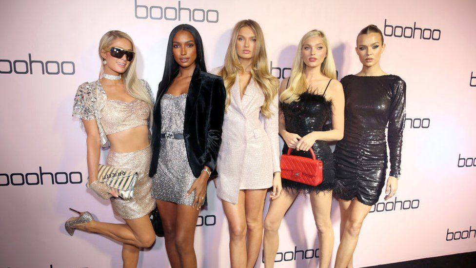 Paris Hilton, Jasmine Tookes, Romee Strijd, Elsa Hosk, and Josephine Skriver at the boohoo x All That Glitters Launch Party in November 2019