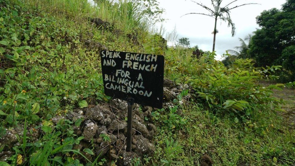 """A sign saying """" Speak English or French for a bilingual Cameroon"""" outside a now abandoned school on May 22, 2019 in a rural part of SW Cameroon"""