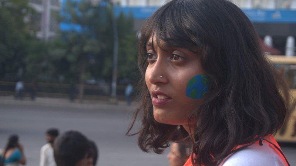 Disha Ravi attends a climate protest