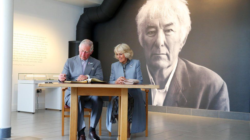 Prince Charles and the Duchess of Cornwall at the Seamus Heaney Homeplace Centre in Bellaghy