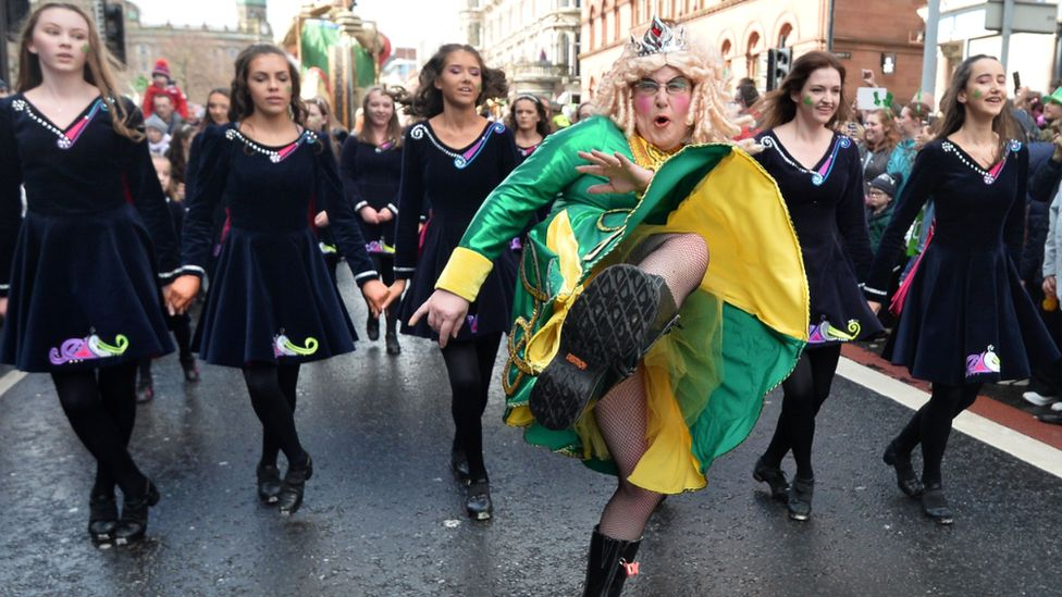 St Patrick shows off his high kick in Belfast
