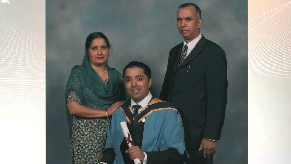 Kal Dhindsa at his graduation with his parents; Gurdev Kaur and Mohinder Singh