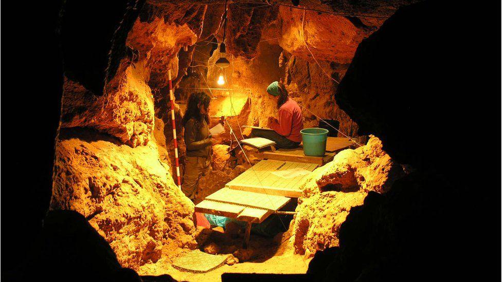 inside the El Sidrón cave (Asturias, Spain).