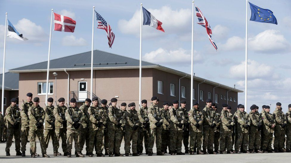 British soldiers during the official ceremony welcoming the deployment of a multi-national Nato battalion in Tapa, Estonia, on 20 April