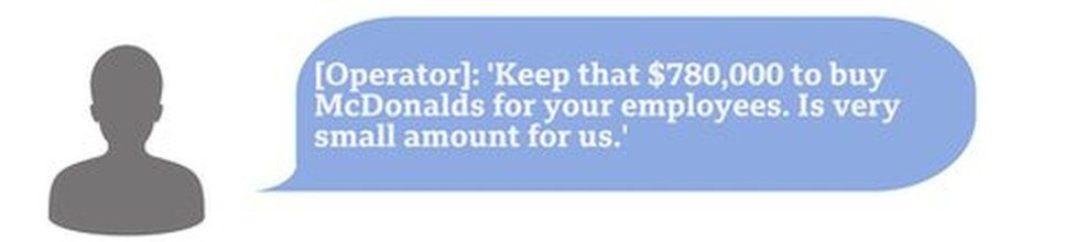 Hacker chat box saying Keep that $780,000 to buy McDonalds for your employees. Is very small amount for us.'