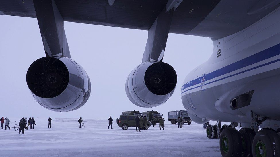 Russian plane after landing in Arctic