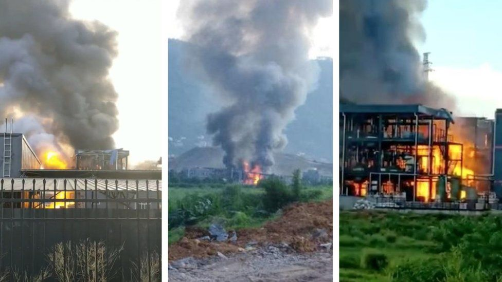 Burning factory building