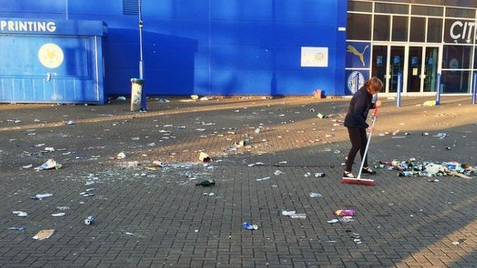 Woman cleaning at Leicester City