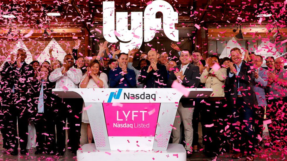 Lyft celebrate as its shares began trading on the Nasdaq
