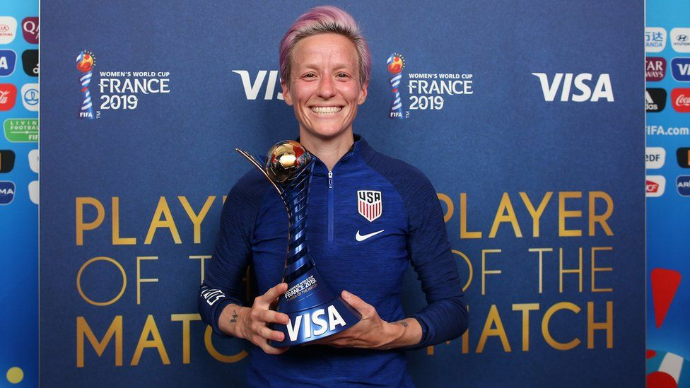 Megan Rapinoe of the USA poses for a photo with her VISA Player of the match award after the 2019 FIFA Women's World Cup France Round Of 16 match between Spain and USA