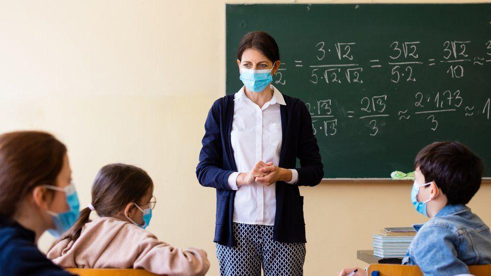 Teacher and pupils wearing masks