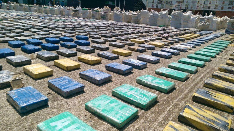 Confiscated packages of cocaine in Turbo, Colombia, 15 May 2016