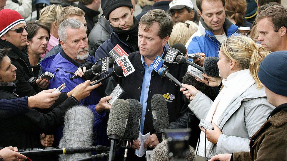 Bill Shorten speaks to reporters at the Beaconsfield mine collapse in 2006