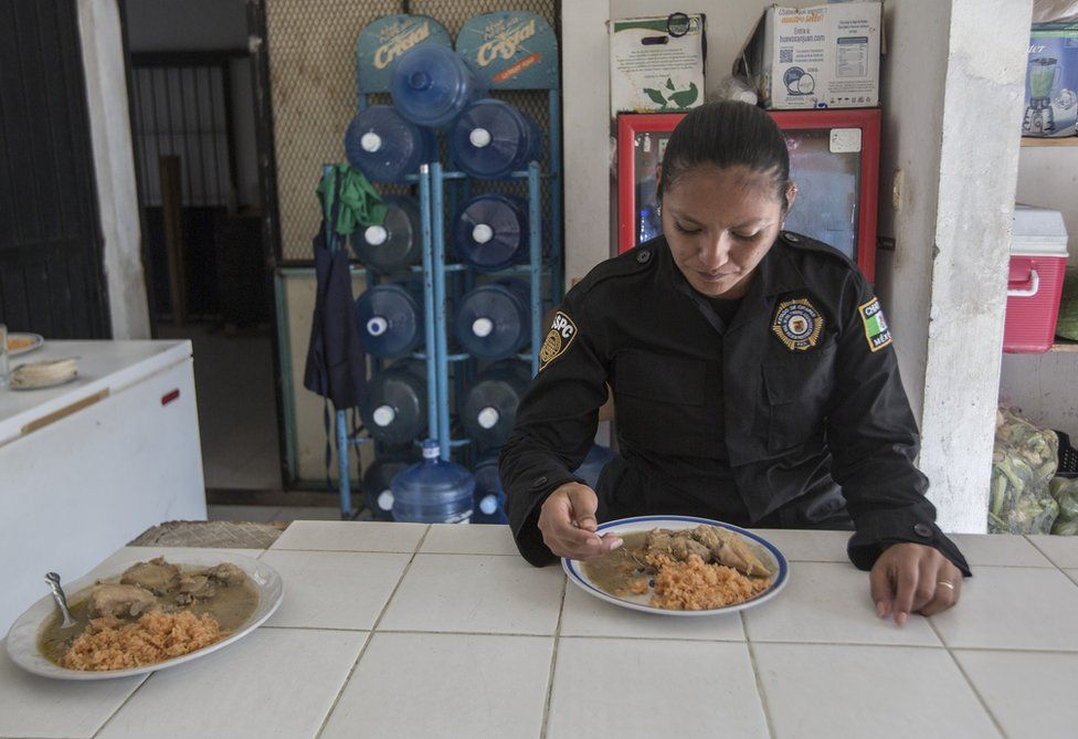 Sgt Lopez eats her lunch