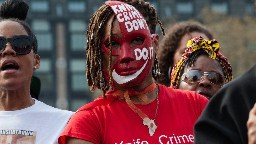 Demonstrators calling for action against violent crime in London in April 2019
