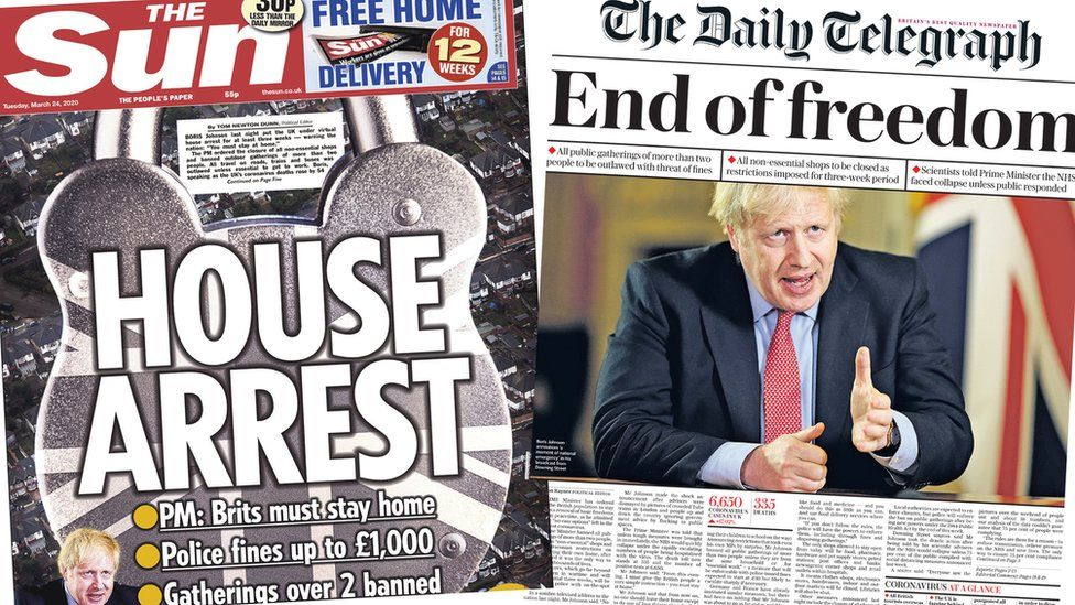 Front pages of the Sun and the Daily Telegraph