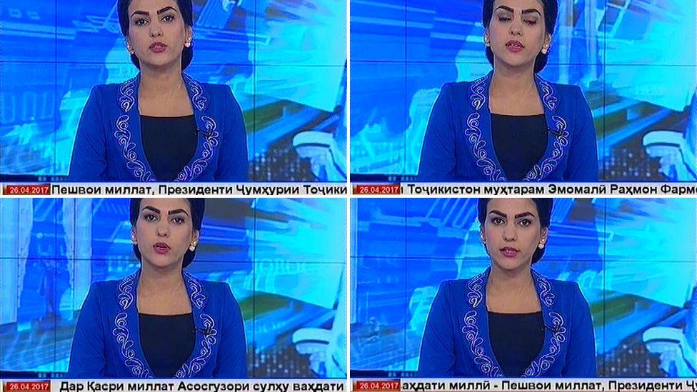 Screen grabs of Tajik Akhbor news programme displaying President Rahmon's full title
