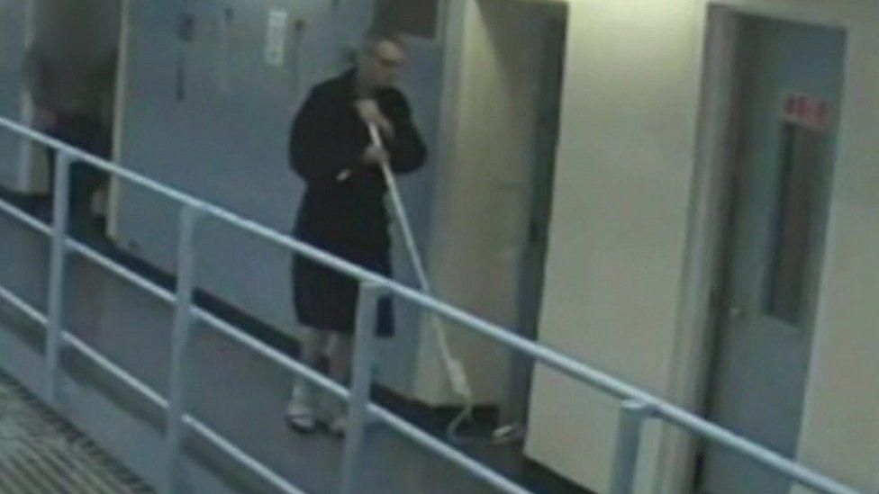 CCTV inside prison of John Hickinbottom with a hook
