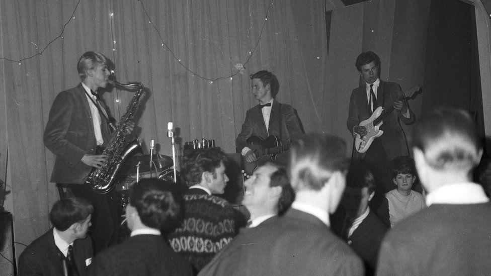 David Bowie performing at Hillsiders youth club, Biggin Hill, May 1963.