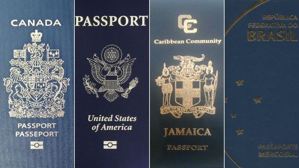 Passports of Canada, the US, Jamaica, and Brasil