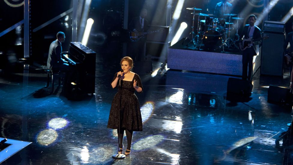 Adele singing at the Royal variety performance in 2010