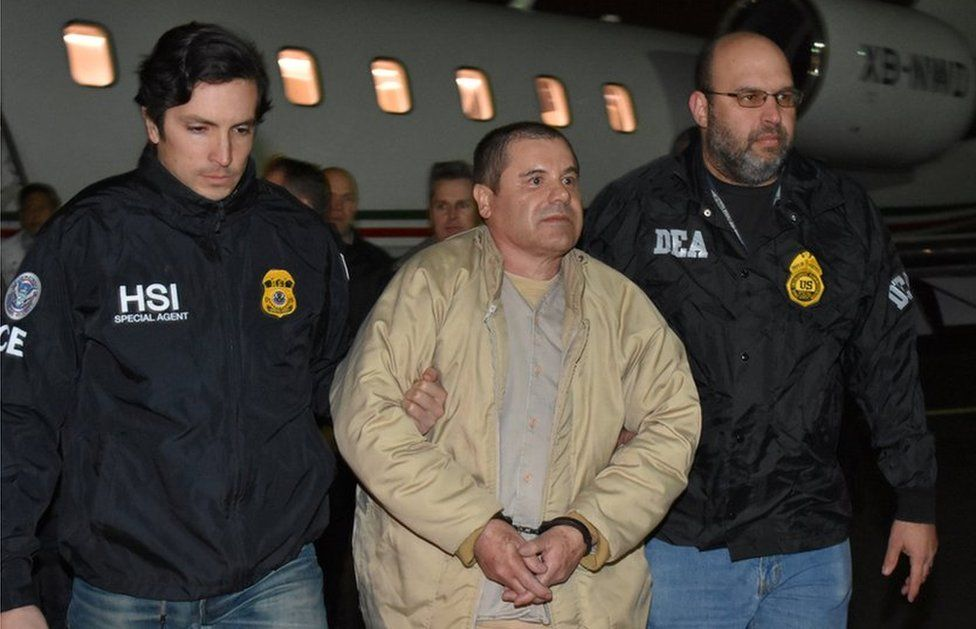 Joaquin Guzmán escorted by police at Long Island MacArthur airport in New York - 19 January