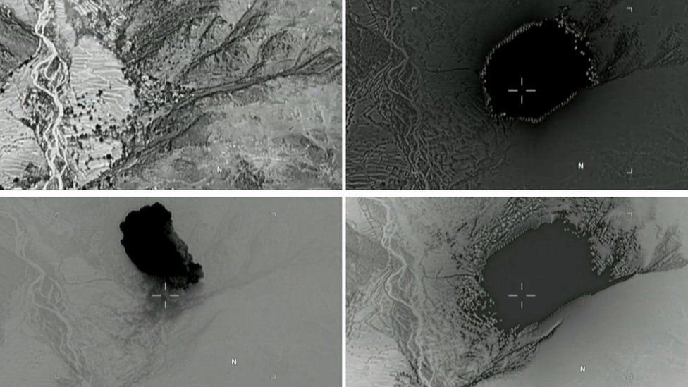 """Atill images taken from a video released by the US Department of Defense of the """"mother of all bombs"""" explosion in Afghanistan"""